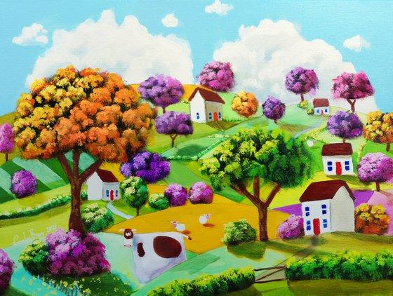 Cow folk art landscape painting