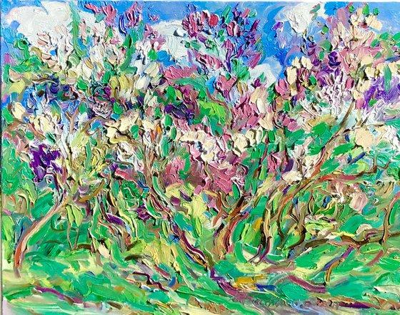 Lilac Garden - floral landscape, large original oil painting