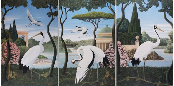 Triptyc of cranes
