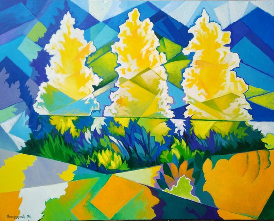 Three trees (60x80cm, cubism, oil painting, ready to hang)