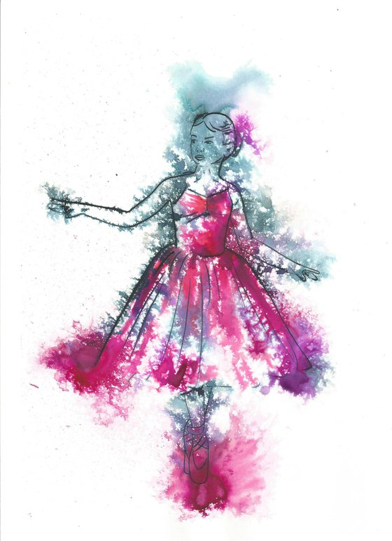 """Pink Painting, child dancer, """"Timid"""""""