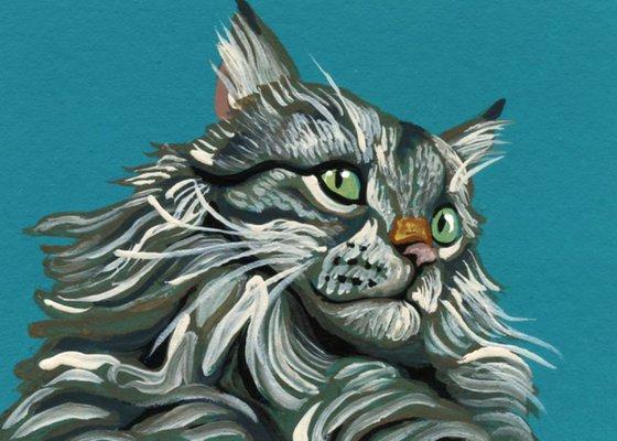 ACEO ATC Original Miniature Painting Grey Maine Coon Pet Cat Art-Carla Smale