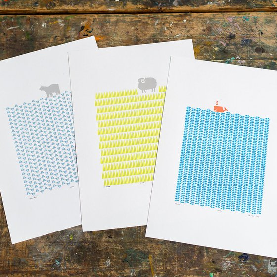 3 x A3 size Unframed Print Bundle - SAVE 25% for Worldwide Delivery