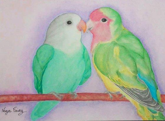 Le couple d'inséparables amoureux