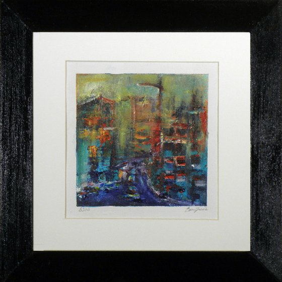 Small Framed Painting BJ06 Abstract Urban City art