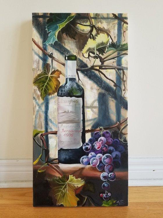 Wine, grapes, grapevine and Italian sun. Original Oil Painting on Canvas. Italian Still life. Italian Landscape Room accent. Summer painting.