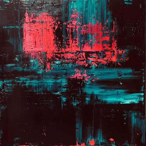 Turquoise/Pink Abstract #216