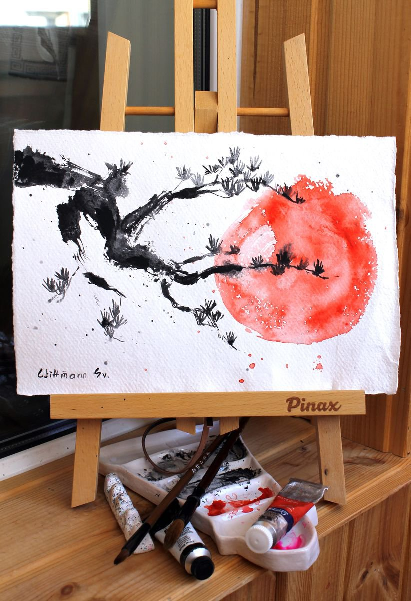 """Japanese Style #4. Branch Of Tree And The Sun. Original Watercolour Painting In Mpressionistic Style. Vivid And Contrast Red And Black Colours. Aquarelle Artwork 7.5""""11"""" In. 19X28 Cm."""