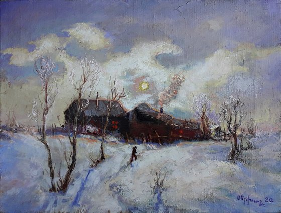 Winter (30x40cm, oil painting, ready to hang)