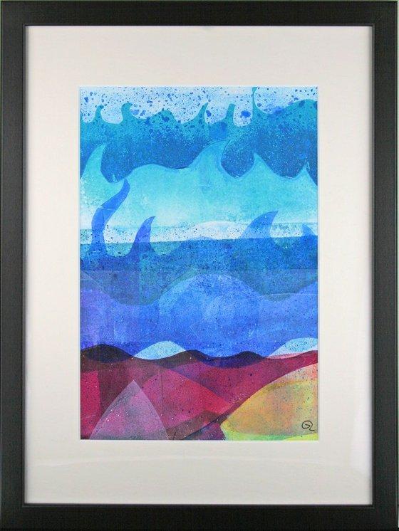 """Shoreline Dream - Framed 40cm (16"""") x 30 cm (12"""") Original Signed Monotype"""