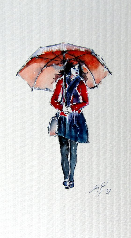 Walking girl with umbrella /32,5 x 18 cm/