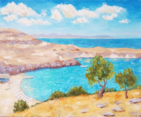 Rhodes. View to the beach of Lindos