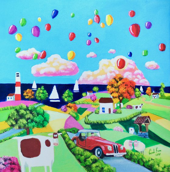 Red car and balloons, folk art painting