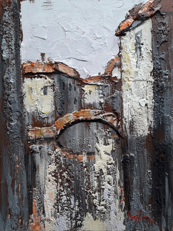 Texture painting. Painting with a palette knife. Reliefs of time.