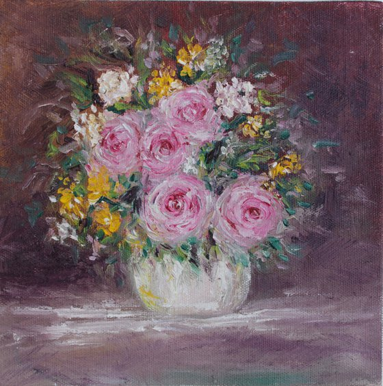 Blooming, floral still life oil painting on canvas board - impasto, impressionism floral painting - vintage style floral - roses painting
