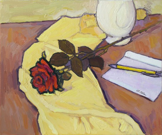 The Rose on Yellow Tablecloth-2
