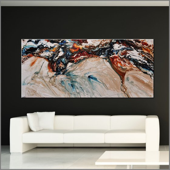 Marbled Coast 270cm x 120cm Blue Oxide White Textured Abstract Art