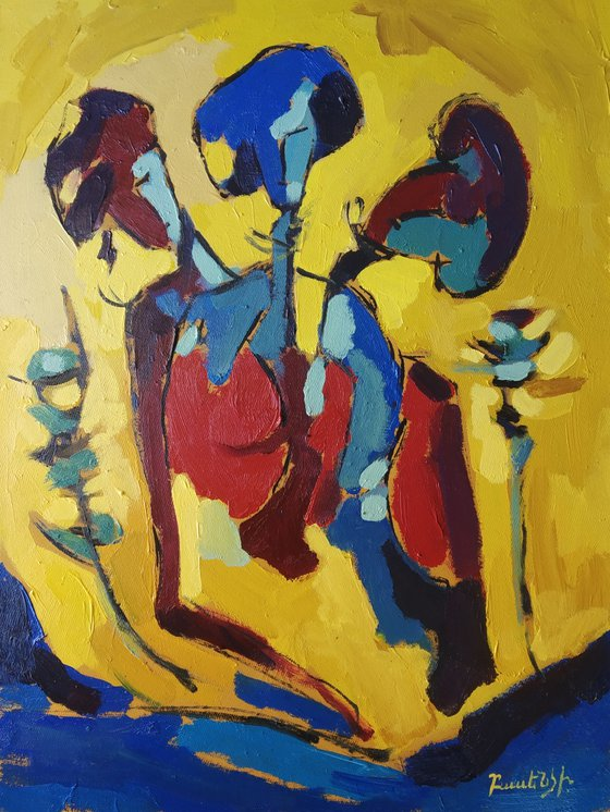 Abstract - Three friends (30x40cm, oil painting, ready to hang)