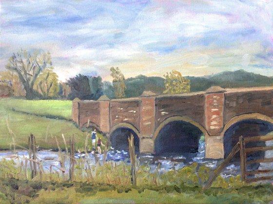 Feeding the ducks in springtime An oil painting