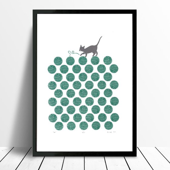 Cat in Teal Green - Framed - FREE Worldwide Delivery