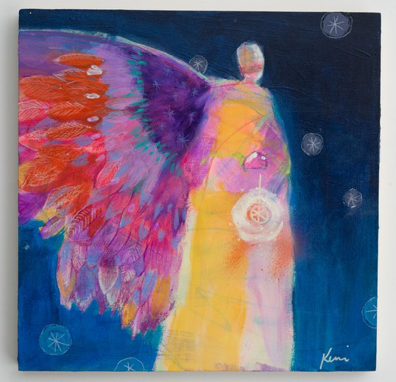 """I Have Ordered Your Stars 10x10"""" Abstract Guardian Angel Painting"""
