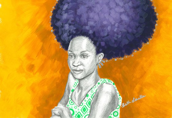 Afro Halo Purple and Yellow