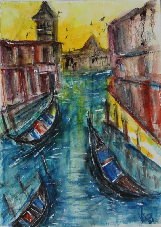 Sunrise in Venice, 2021 - Watercolour painting - Italy painting - gift art - gondola paintings