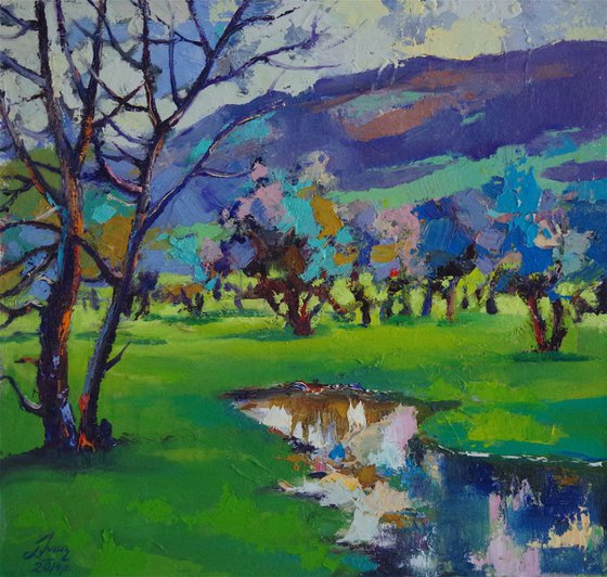 Landscape Original oil Painting, Impressionism, Signed, One of a Kind