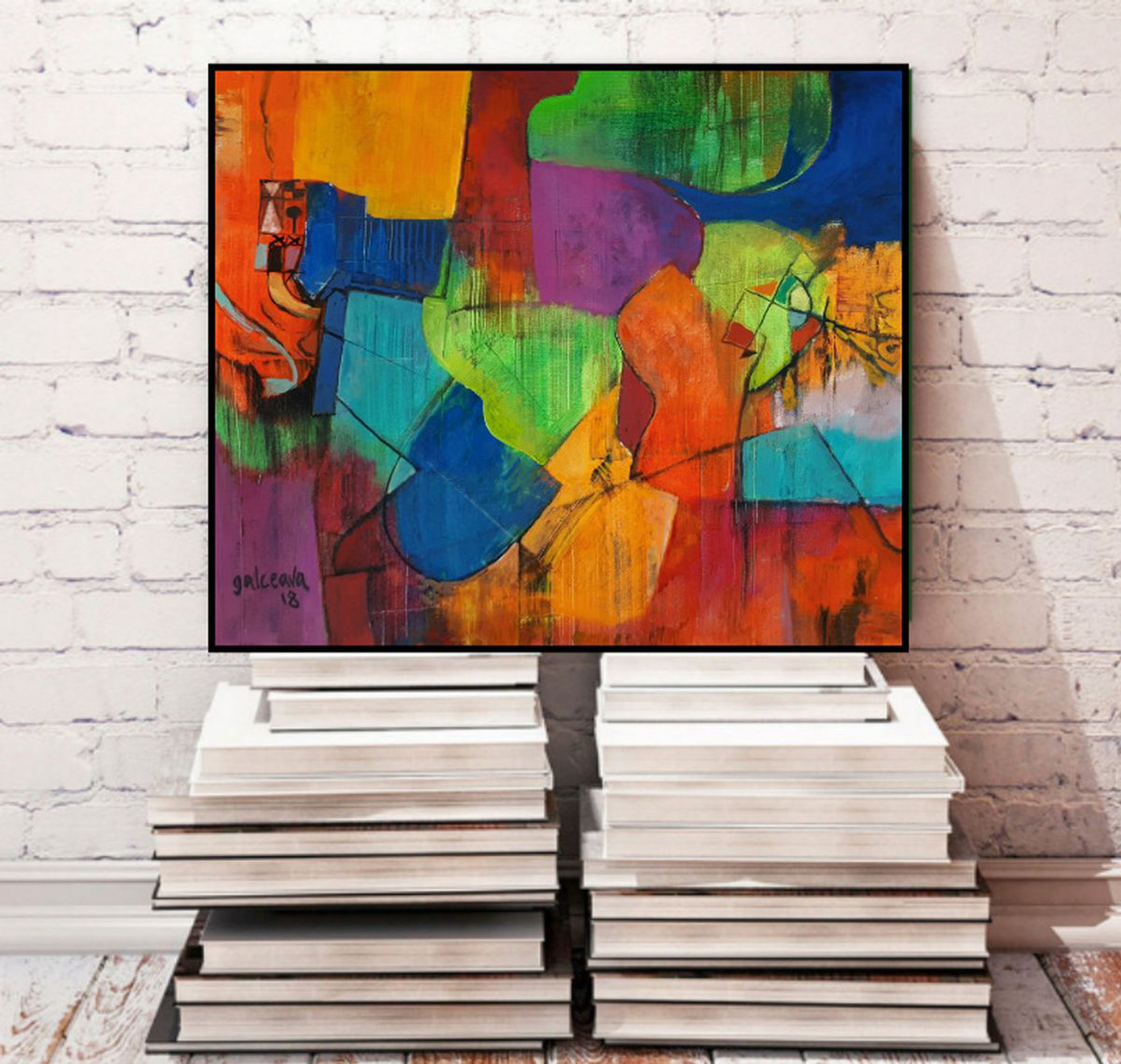 Forever Autumn Fall Colors Abstract Painting Geometric Colorful Art On Canvas