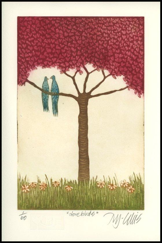 Lovebirds, aquatint etching