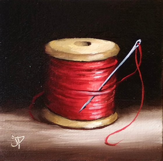 Little Red needle and thread still life