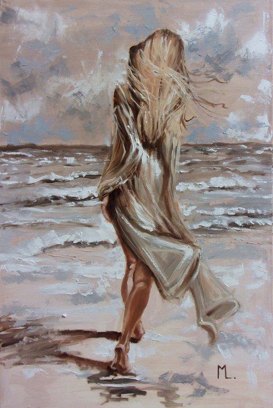 "RESERVED "" MAGIC MOMENTS "" SEA original painting palette knife GIFT MODERN URBAN ART OFFICE ART DECOR HOME DECOR GIFT IDEA"
