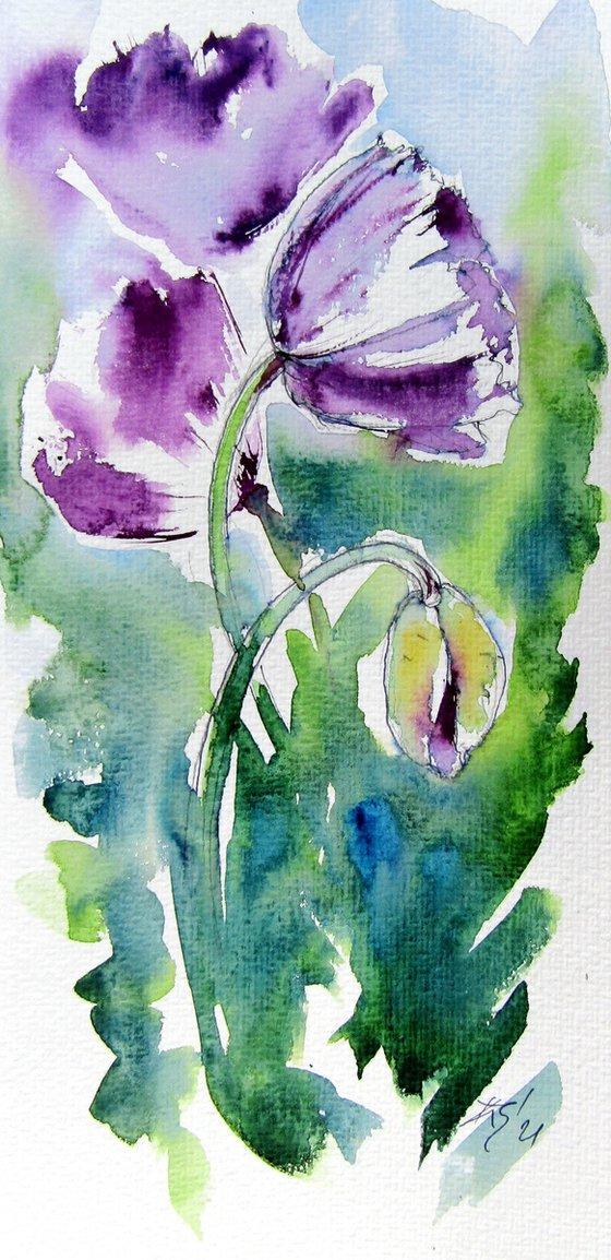 Purple poppies /32,5 x 16 cm/