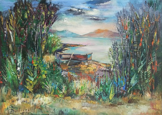 Landscape (70x50cm, oil painting, ready to hang)