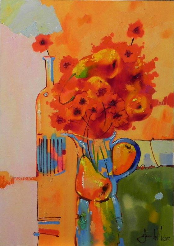 """""""Morning bouquet"""" Original Abstract Still life Home wall Art"""