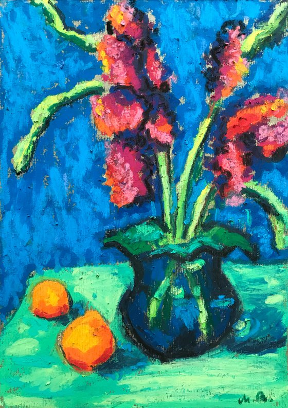 Flowers And Oranges In Blue