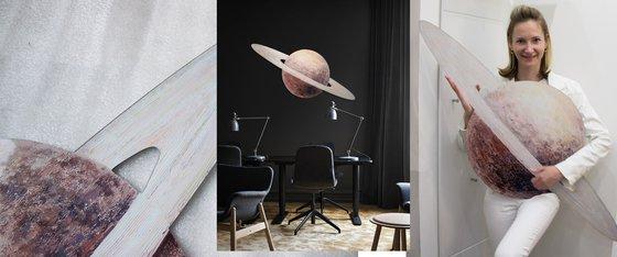 SATURN PLEXIGLASS art object planet planets solar sistem round circle space science