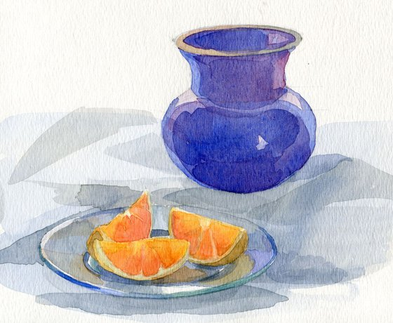 Still-life with an orange and a blue vase