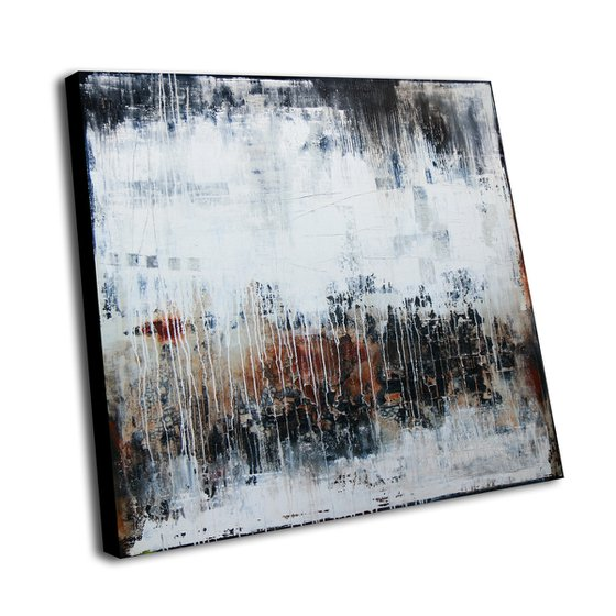 MAGIE NOIRE - ABSTRACT ACRYLIC PAINTING ON CANVAS * VINTAGE COLORS * SQUARE FORMAT