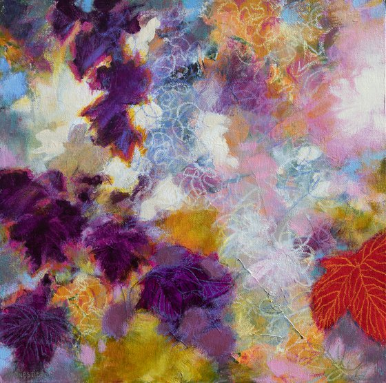 The vines of bacchus - Poetic modern vibrant floral abstract in violet pink orange red Foliage nature plants