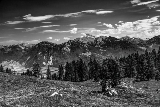 The Eusin mountain pasture and the Vaud Alps