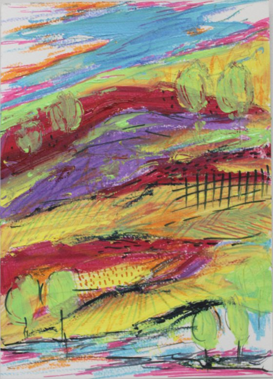 Rainbow landscape - mixed media painting - kids room art decor - whimsical artwork - abstract landscape