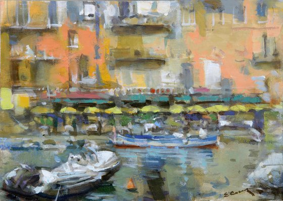 """Oil Painting on Canvas """"Landscape with boats"""""""