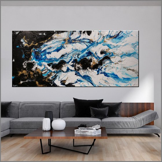 Cobalt Reign 270cm x 120cm Blue Black Gold Abstract Art