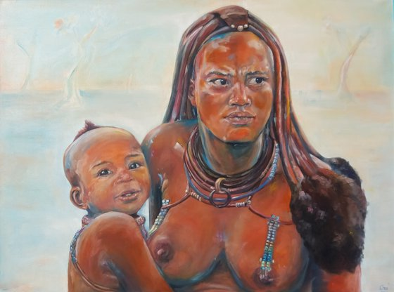 Mother and son in Namibia
