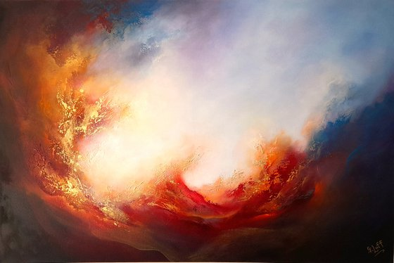 WRATH OF ANGELS XIII (Large skyscape/seascape original oil painting)