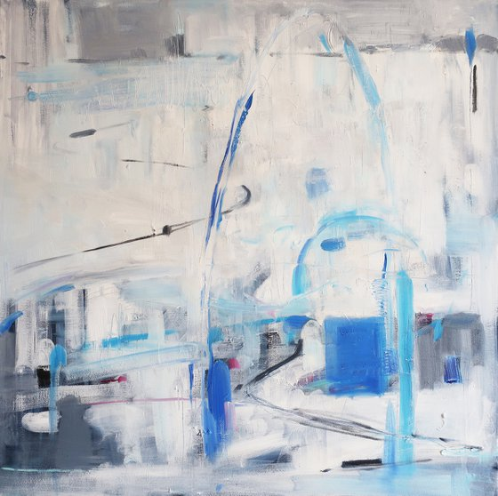 Oil painting White landscape Abstraction