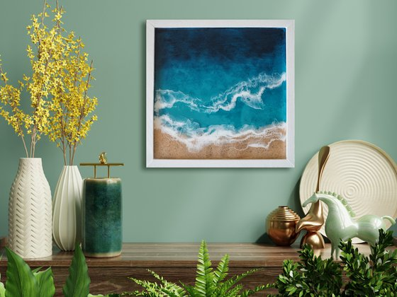 Minimalistic sea - original seascape artwork, framed, ready to hang