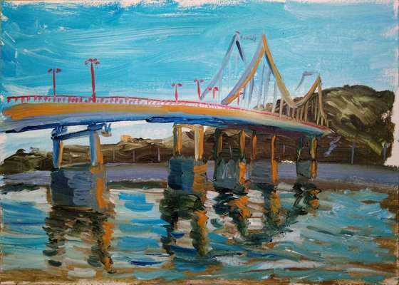 The footbridge over the river Dnipro in the Kyiv city pleinair painting
