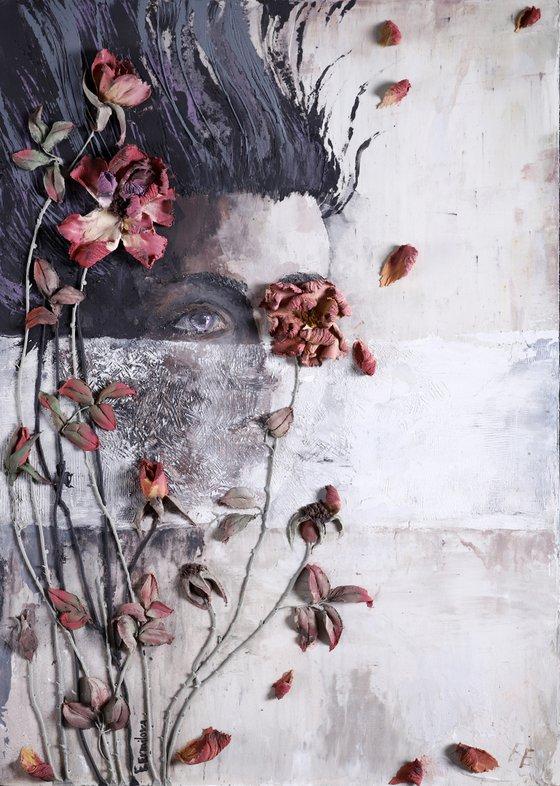 SILENCE * Sculpture painting * Reinforced acryl * Palette knife * flower * girl